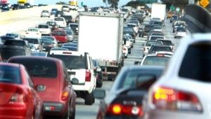 rush-hour traffic on an LA freeway